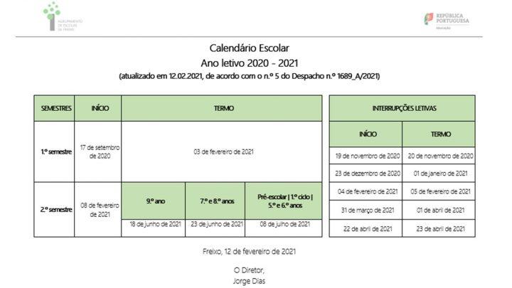 Atualização do Calendário Escolar do ano letivo 2020-2021